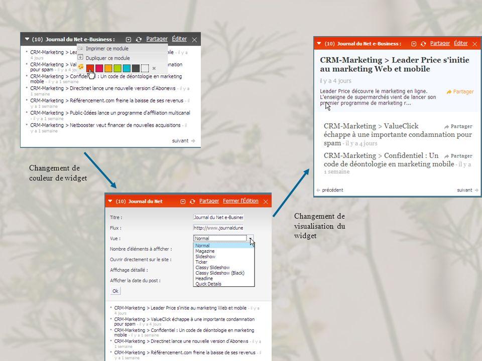 Changement de couleur de widget Changement de visualisation du widget