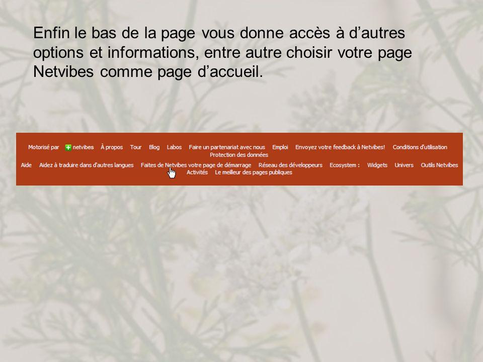 Enfin le bas de la page vous donne accès à dautres options et informations, entre autre choisir votre page Netvibes comme page daccueil.