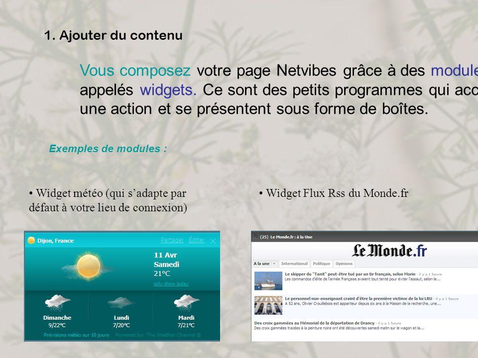 1. Ajouter du contenu Vous composez votre page Netvibes grâce à des modules, aussi appelés widgets. Ce sont des petits programmes qui accomplissent un