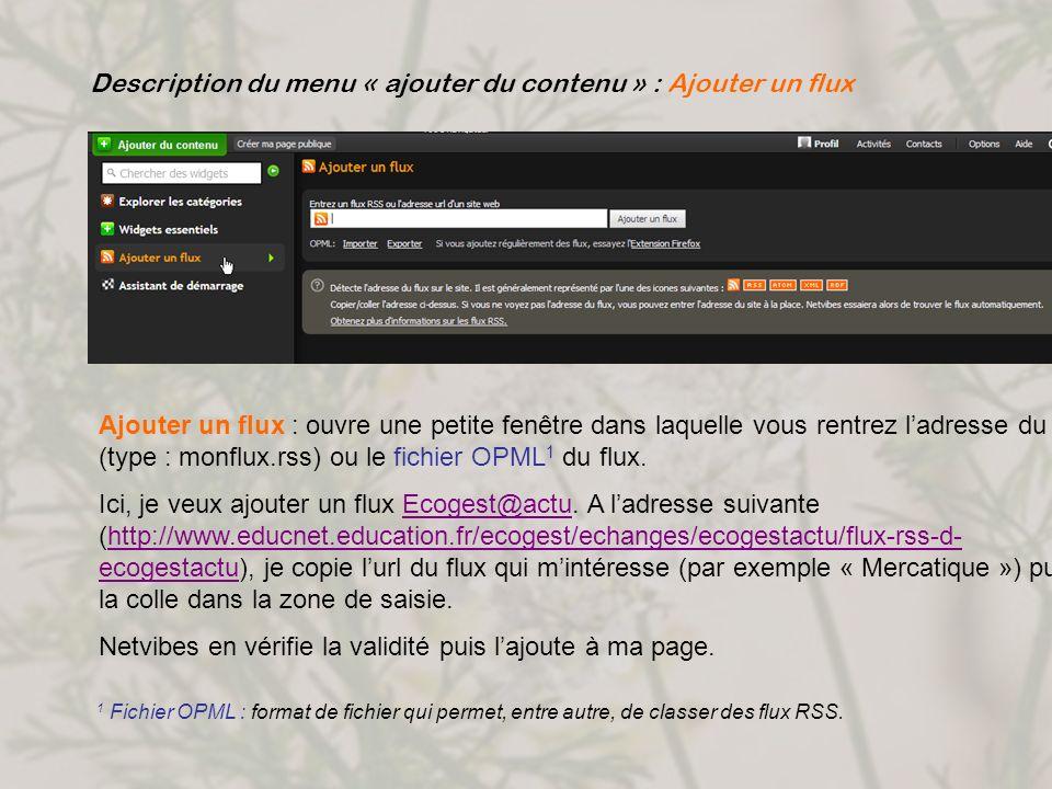 Description du menu « ajouter du contenu » : Ajouter un flux Ajouter un flux : ouvre une petite fenêtre dans laquelle vous rentrez ladresse du flux (t