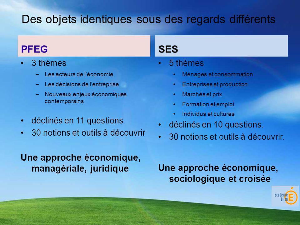Des objets identiques sous des regards différents 3 thèmes –Les acteurs de léconomie –Les décisions de lentreprise –Nouveaux enjeux économiques contem