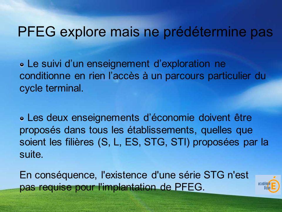 PFEG explore mais ne prédétermine pas Le suivi dun enseignement dexploration ne conditionne en rien laccès à un parcours particulier du cycle terminal.