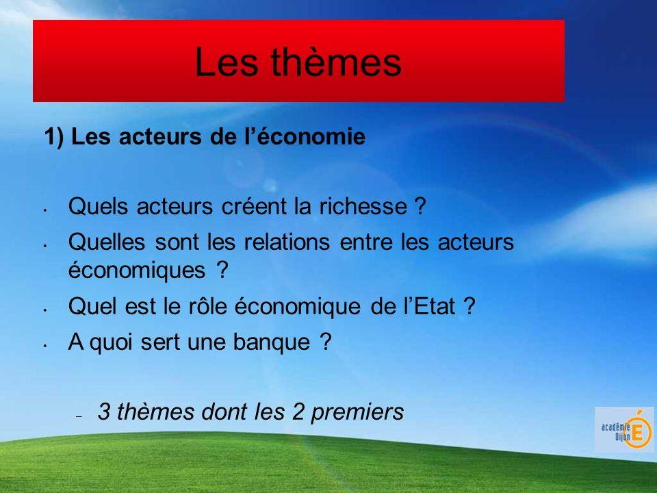 Les thèmes 1) Les acteurs de léconomie Quels acteurs créent la richesse ? Quelles sont les relations entre les acteurs économiques ? Quel est le rôle