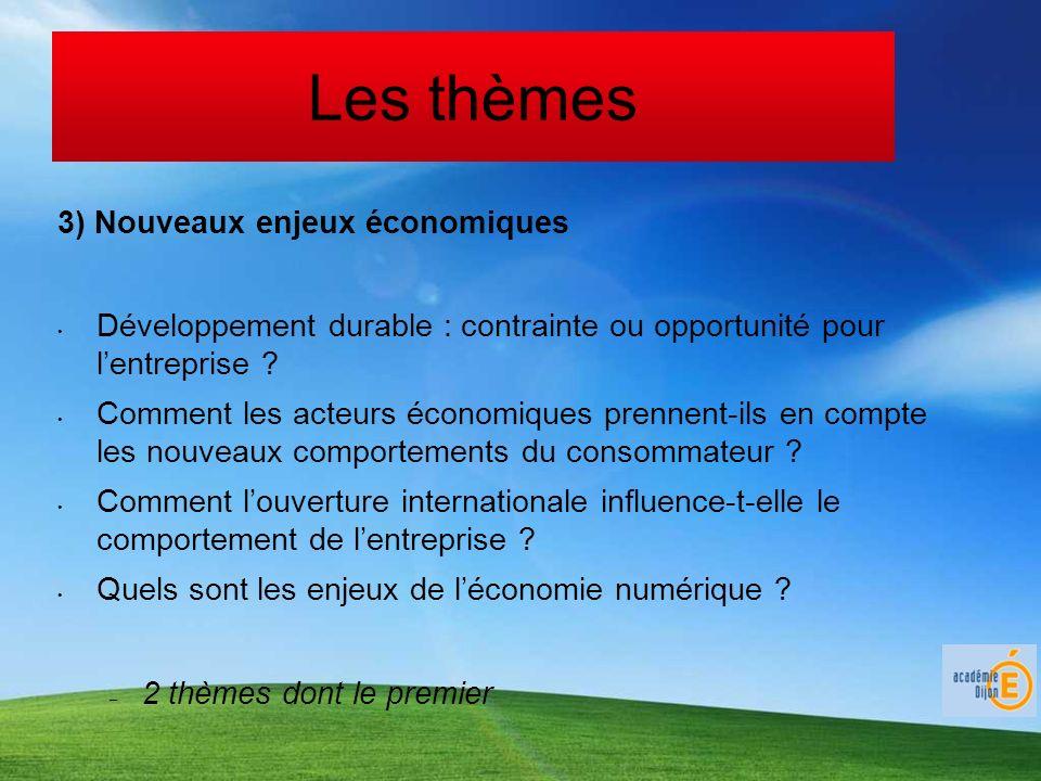 Les thèmes 3) Nouveaux enjeux économiques Développement durable : contrainte ou opportunité pour lentreprise ? Comment les acteurs économiques prennen