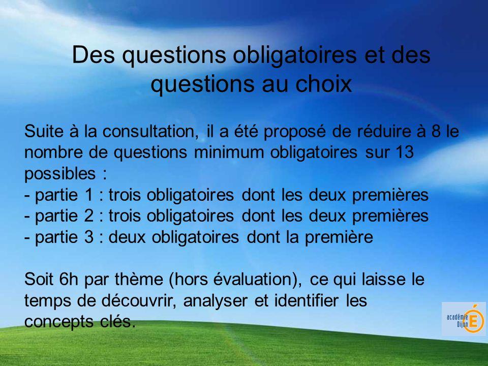 Des questions obligatoires et des questions au choix Suite à la consultation, il a été proposé de réduire à 8 le nombre de questions minimum obligatoi