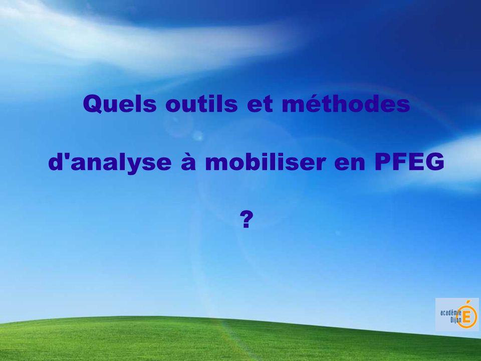 Quels outils et méthodes d analyse à mobiliser en PFEG