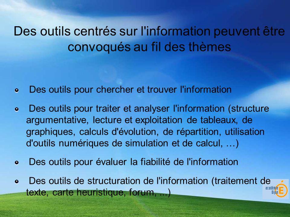 Des outils centrés sur l'information peuvent être convoqués au fil des thèmes Des outils pour chercher et trouver l'information Des outils pour traite