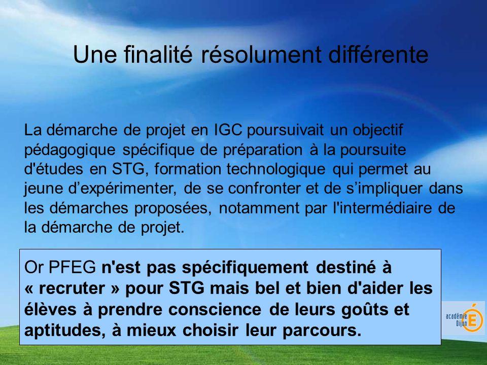 Une finalité résolument différente La démarche de projet en IGC poursuivait un objectif pédagogique spécifique de préparation à la poursuite d études en STG, formation technologique qui permet au jeune dexpérimenter, de se confronter et de simpliquer dans les démarches proposées, notamment par l intermédiaire de la démarche de projet.