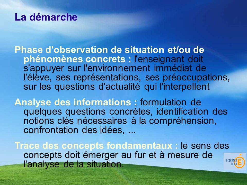 La démarche Phase d'observation de situation et/ou de phénomènes concrets : l'enseignant doit s'appuyer sur l'environnement immédiat de l'élève, ses r