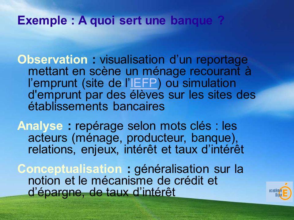 Exemple : A quoi sert une banque ? Observation : visualisation dun reportage mettant en scène un ménage recourant à lemprunt (site de lIEFP) ou simula