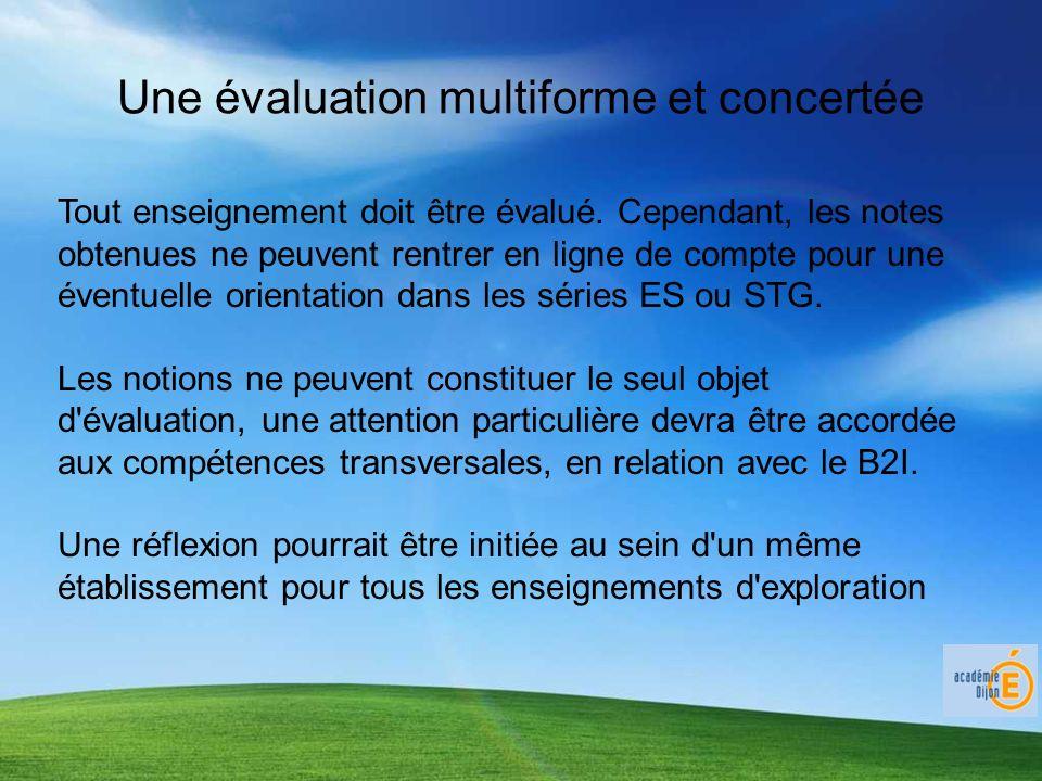 Une évaluation multiforme et concertée Tout enseignement doit être évalué.
