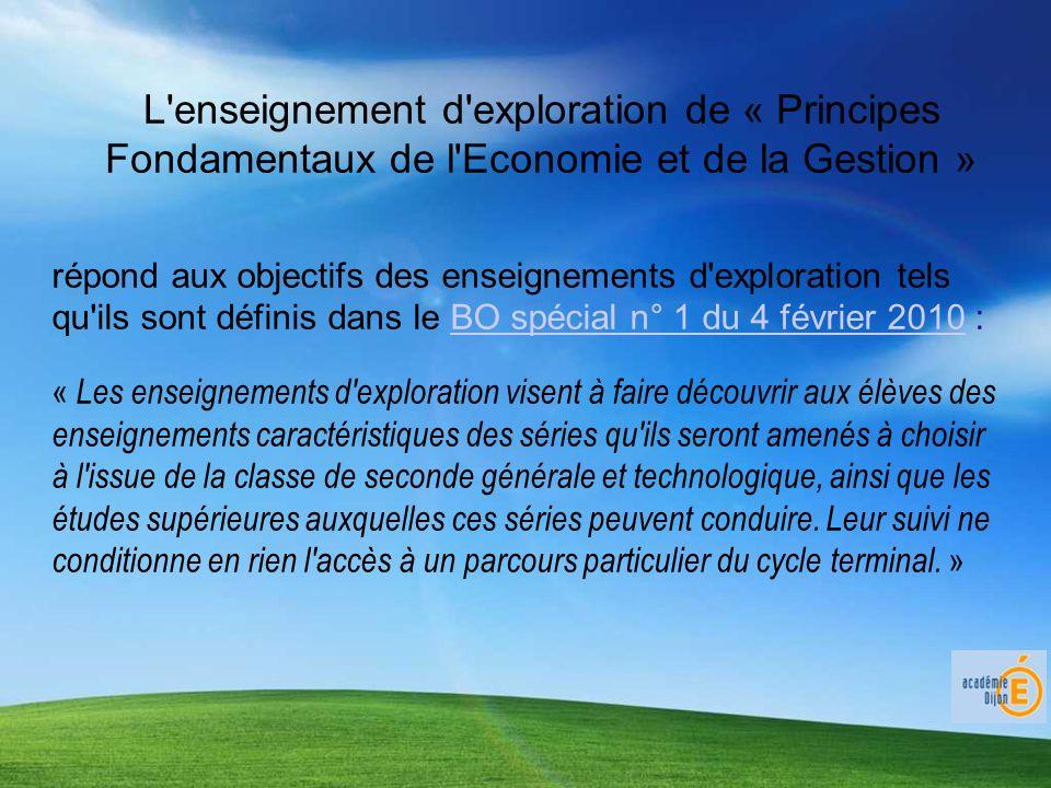 L'enseignement d'exploration de « Principes Fondamentaux de l'Economie et de la Gestion » répond aux objectifs des enseignements d'exploration tels qu