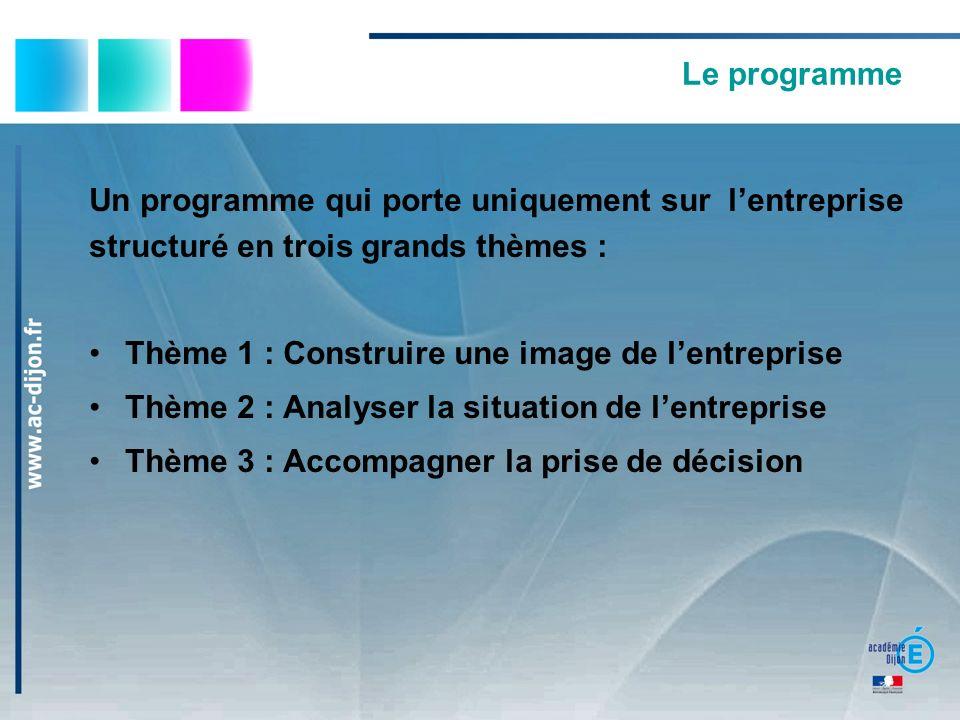 Le programme Un programme qui porte uniquement sur lentreprise structuré en trois grands thèmes : Thème 1 : Construire une image de lentreprise Thème 2 : Analyser la situation de lentreprise Thème 3 : Accompagner la prise de décision