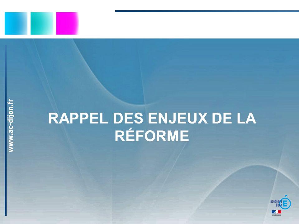 RAPPEL DES ENJEUX DE LA RÉFORME