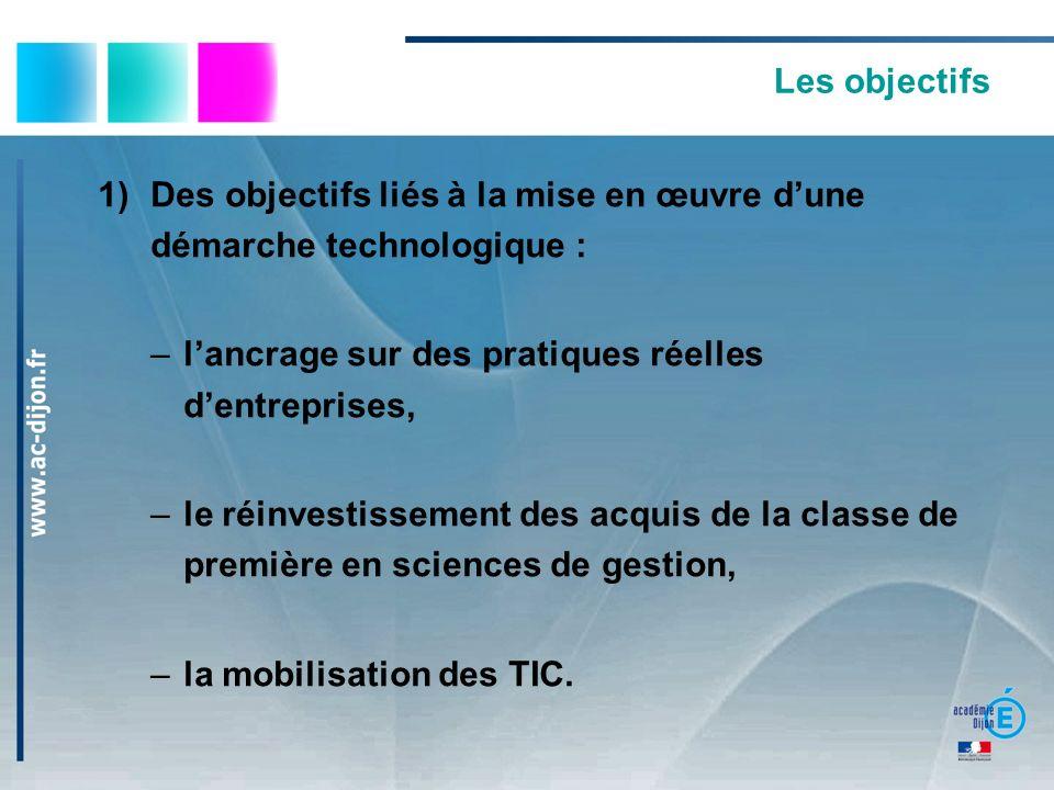 Les objectifs 1)Des objectifs liés à la mise en œuvre dune démarche technologique : –lancrage sur des pratiques réelles dentreprises, –le réinvestissement des acquis de la classe de première en sciences de gestion, –la mobilisation des TIC.