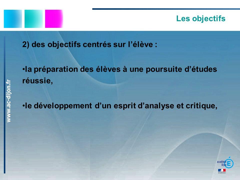 Les objectifs 2) des objectifs centrés sur lélève : la préparation des élèves à une poursuite détudes réussie, le développement dun esprit danalyse et critique,
