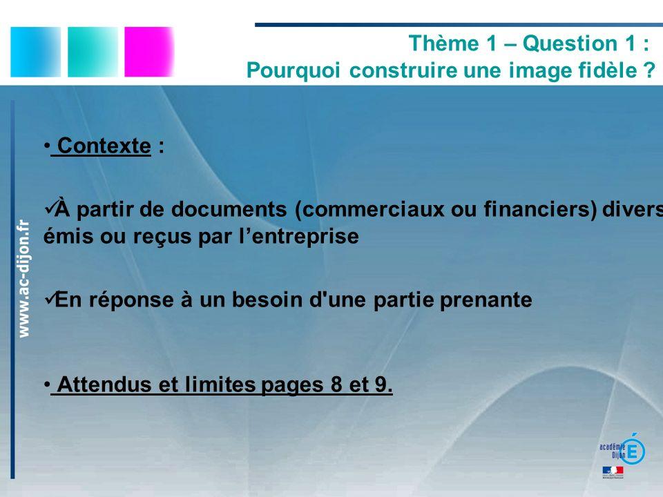 Thème 1 – Question 1 : Pourquoi construire une image fidèle ? Contexte : À partir de documents (commerciaux ou financiers) divers émis ou reçus par le