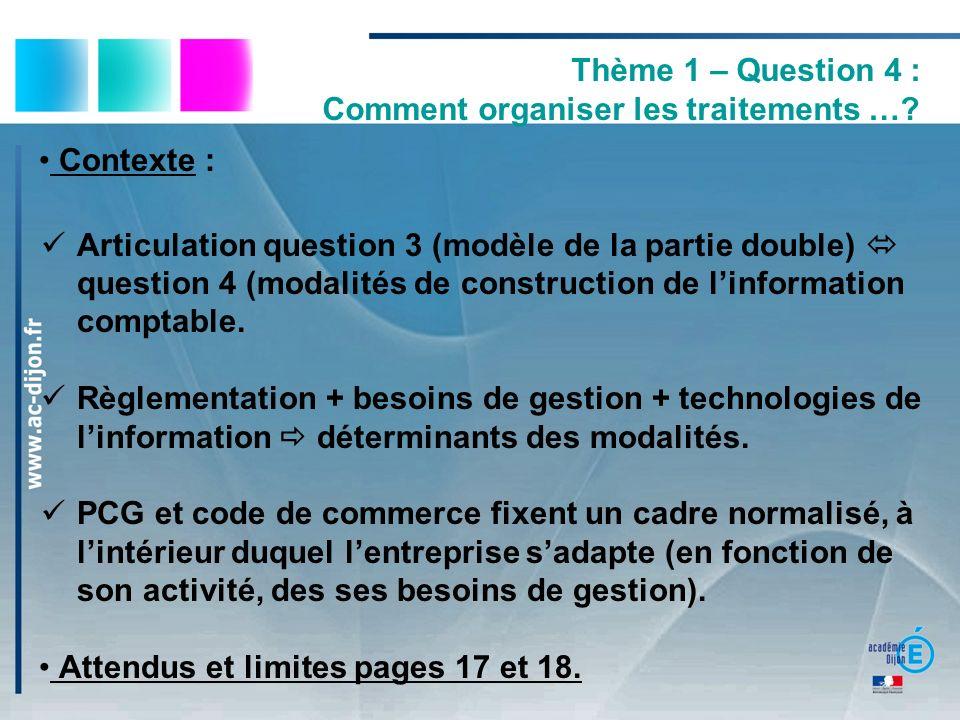 Thème 1 – Question 4 : Comment organiser les traitements …? Contexte : Articulation question 3 (modèle de la partie double) question 4 (modalités de c