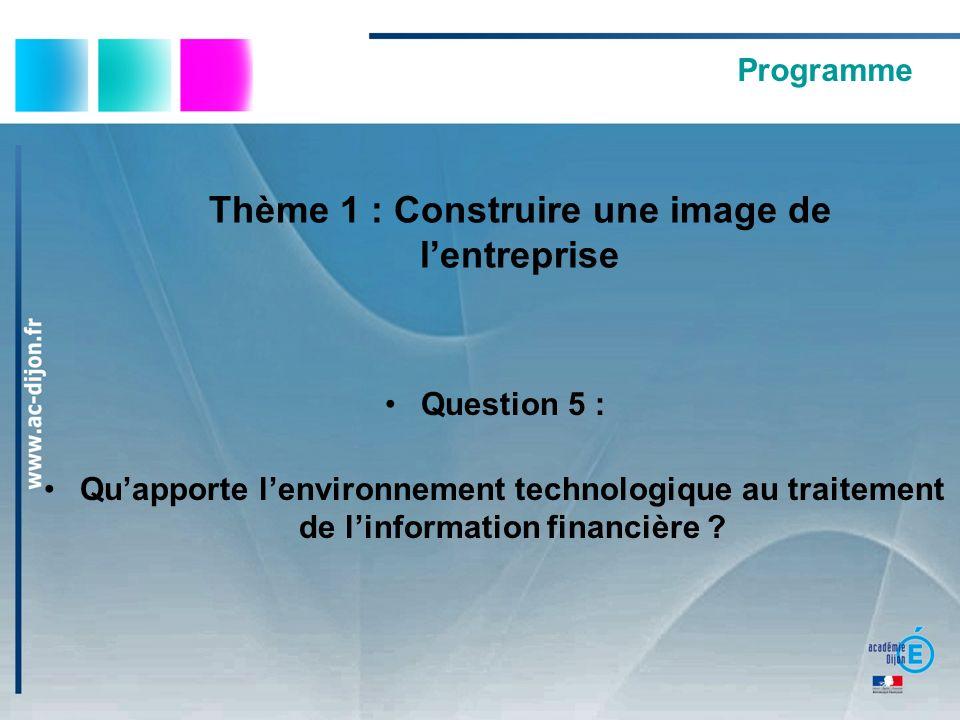 Programme Thème 1 : Construire une image de lentreprise Question 5 : Quapporte lenvironnement technologique au traitement de linformation financière ?