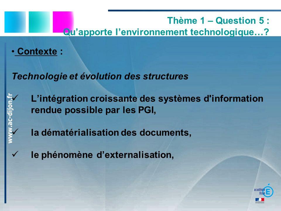 Thème 1 – Question 5 : Quapporte lenvironnement technologique…? Contexte : Technologie et évolution des structures Lintégration croissante des système