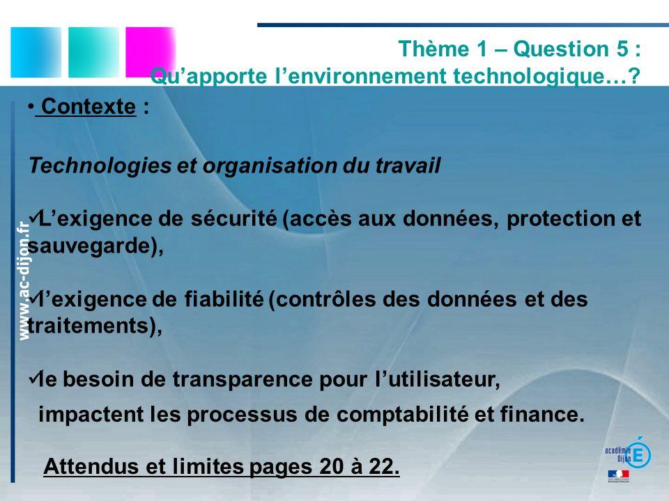 Thème 1 – Question 5 : Quapporte lenvironnement technologique…? Contexte : Technologies et organisation du travail Lexigence de sécurité (accès aux do