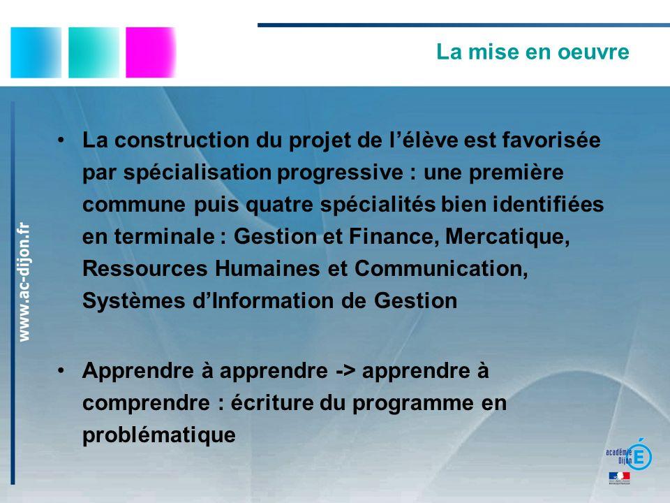 La mise en oeuvre La construction du projet de lélève est favorisée par spécialisation progressive : une première commune puis quatre spécialités bien