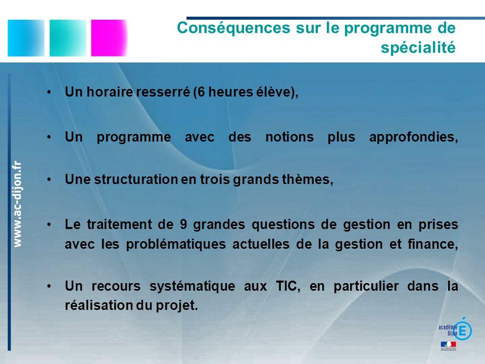 Conséquences sur le programme de spécialité Un horaire resserré (6 heures élève), Un programme avec des notions plus approfondies, Une structuration e