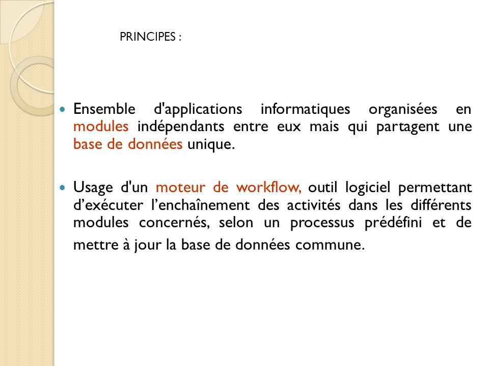 Ensemble d'applications informatiques organisées en modules indépendants entre eux mais qui partagent une base de données unique. Usage d'un moteur de