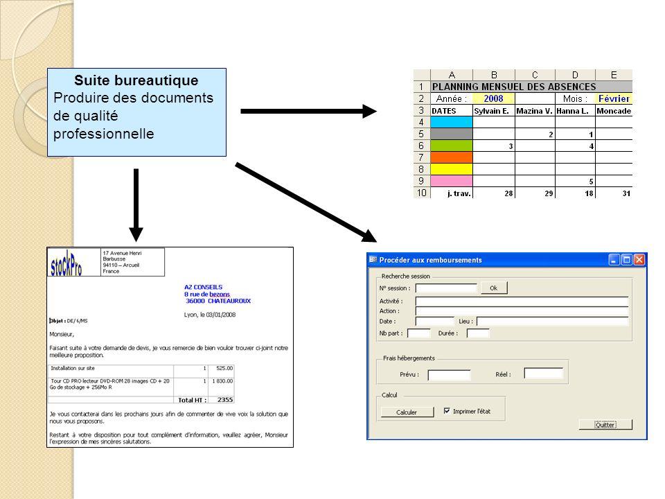Suite bureautique Produire des documents de qualité professionnelle