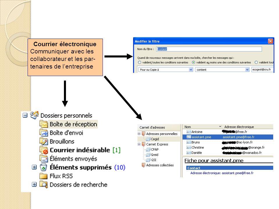 Courrier électronique Communiquer avec les collaborateur et les par- tenaires de lentreprise