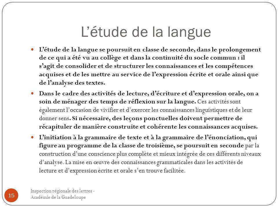 Létude de la langue Inspection régionale des lettres - Académie de la Guadeloupe 15 Létude de la langue se poursuit en classe de seconde, dans le prol