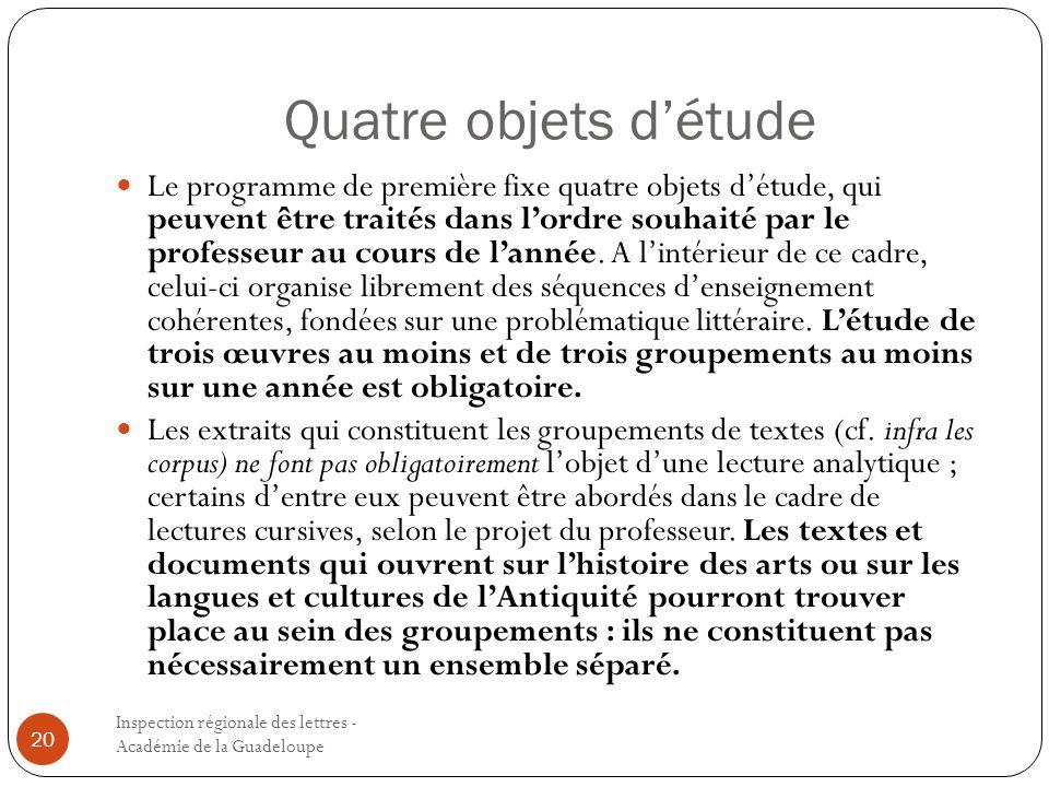 Quatre objets détude Inspection régionale des lettres - Académie de la Guadeloupe 20 Le programme de première fixe quatre objets détude, qui peuvent ê