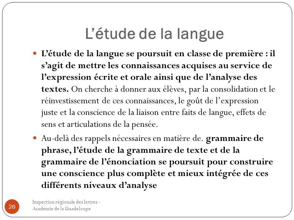 Létude de la langue Inspection régionale des lettres - Académie de la Guadeloupe 28 Létude de la langue se poursuit en classe de première : il sagit d