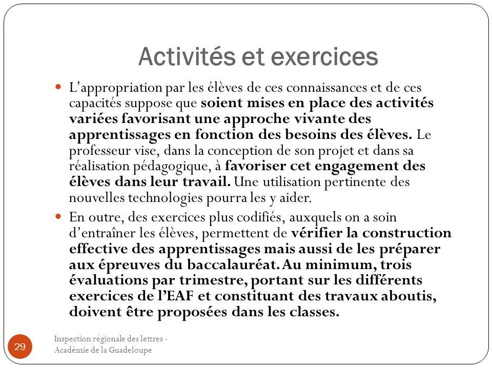 Activités et exercices Inspection régionale des lettres - Académie de la Guadeloupe 29 Lappropriation par les élèves de ces connaissances et de ces ca