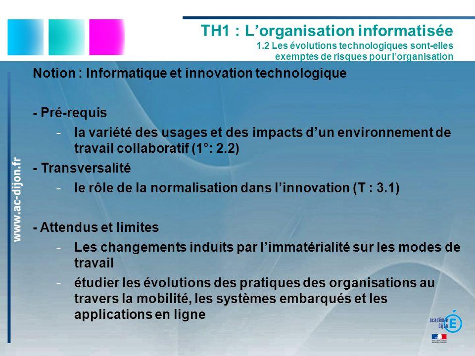 TH1 : Lorganisation informatisée 1.2 Les évolutions technologiques sont-elles exemptes de risques pour lorganisation Notion : Informatique et innovati