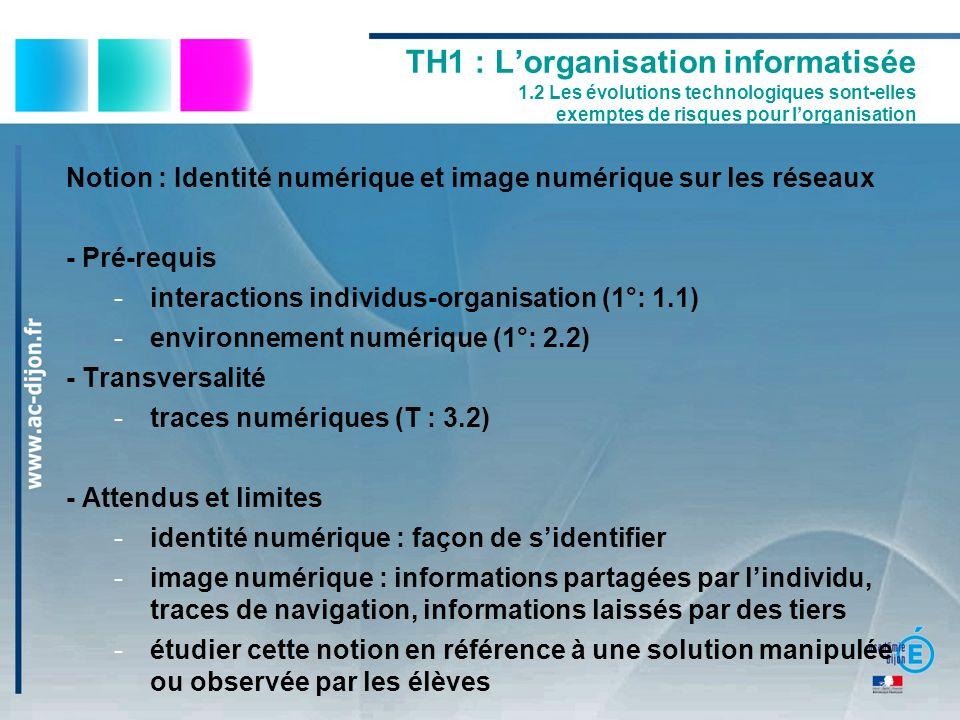 TH1 : Lorganisation informatisée 1.2 Les évolutions technologiques sont-elles exemptes de risques pour lorganisation Notion : Identité numérique et im