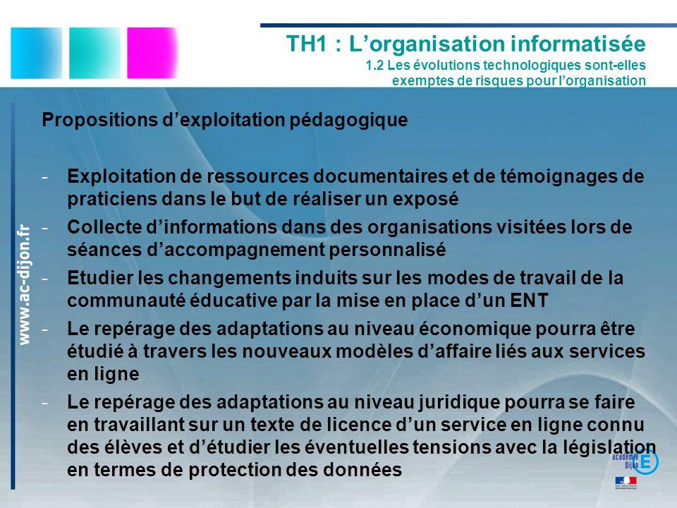 Propositions dexploitation pédagogique -Exploitation de ressources documentaires et de témoignages de praticiens dans le but de réaliser un exposé -Co
