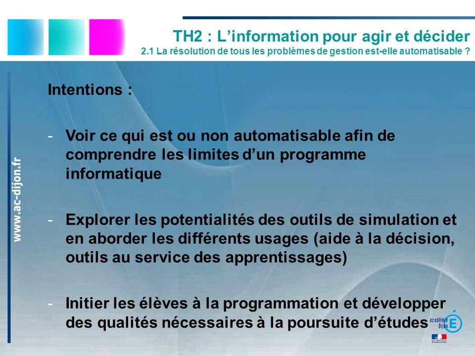 TH2 : Linformation pour agir et décider 2.1 La résolution de tous les problèmes de gestion est-elle automatisable ? Intentions : -Voir ce qui est ou n