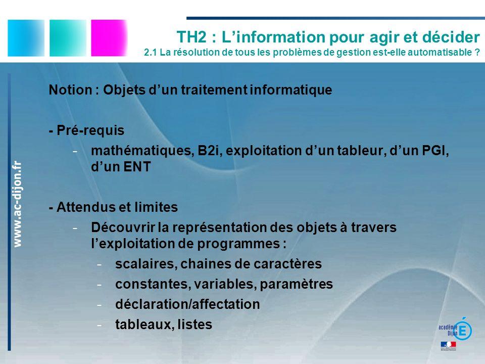 TH2 : Linformation pour agir et décider 2.1 La résolution de tous les problèmes de gestion est-elle automatisable ? Notion : Objets dun traitement inf