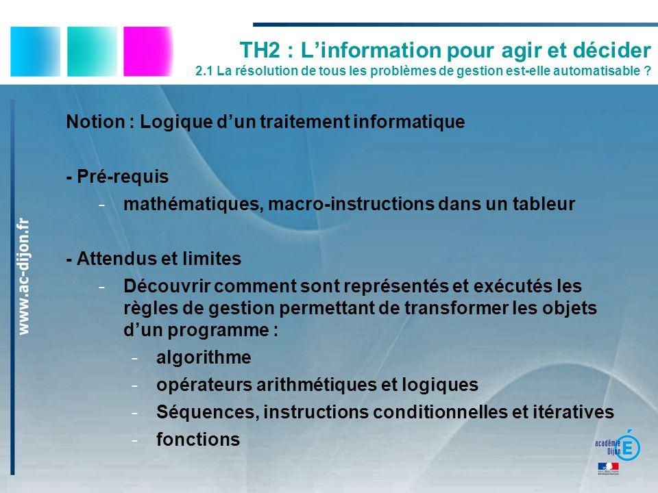 TH2 : Linformation pour agir et décider 2.1 La résolution de tous les problèmes de gestion est-elle automatisable ? Notion : Logique dun traitement in