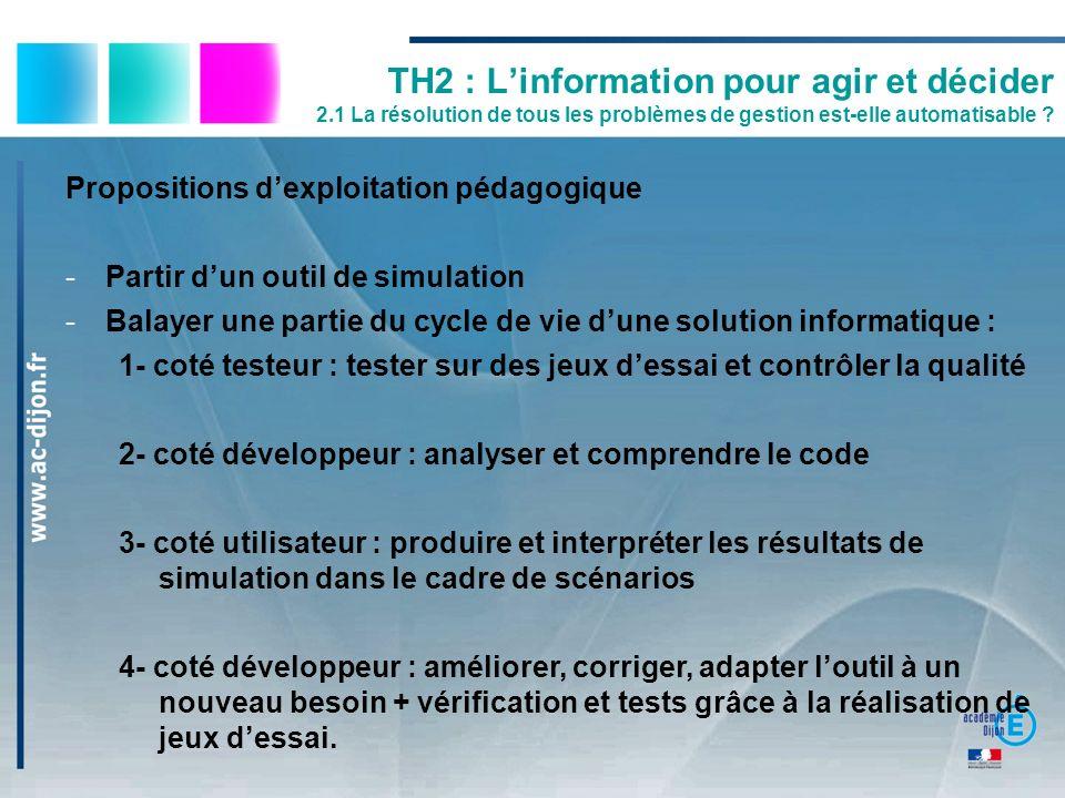 Propositions dexploitation pédagogique -Partir dun outil de simulation -Balayer une partie du cycle de vie dune solution informatique : 1- coté testeu