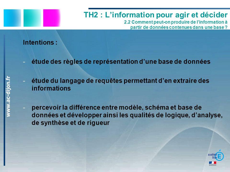 Intentions : -étude des règles de représentation dune base de données -étude du langage de requêtes permettant den extraire des informations -percevoi