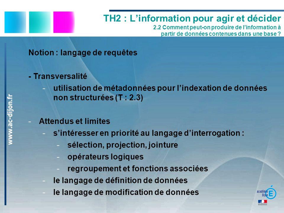 Notion : langage de requêtes - Transversalité -utilisation de métadonnées pour lindexation de données non structurées (T : 2.3) -Attendus et limites -