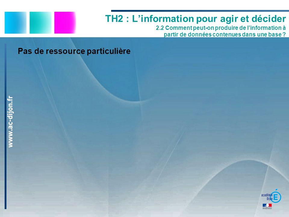 Pas de ressource particulière TH2 : Linformation pour agir et décider 2.2 Comment peut-on produire de linformation à partir de données contenues dans