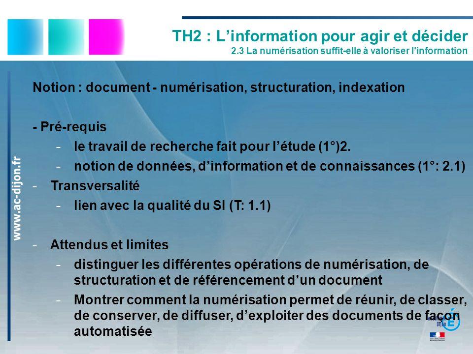 TH2 : Linformation pour agir et décider 2.3 La numérisation suffit-elle à valoriser linformation Notion : document - numérisation, structuration, inde