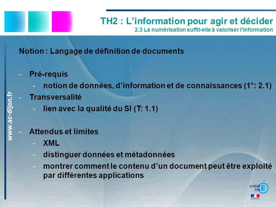 TH2 : Linformation pour agir et décider 2.3 La numérisation suffit-elle à valoriser linformation Notion : Langage de définition de documents -Pré-requ