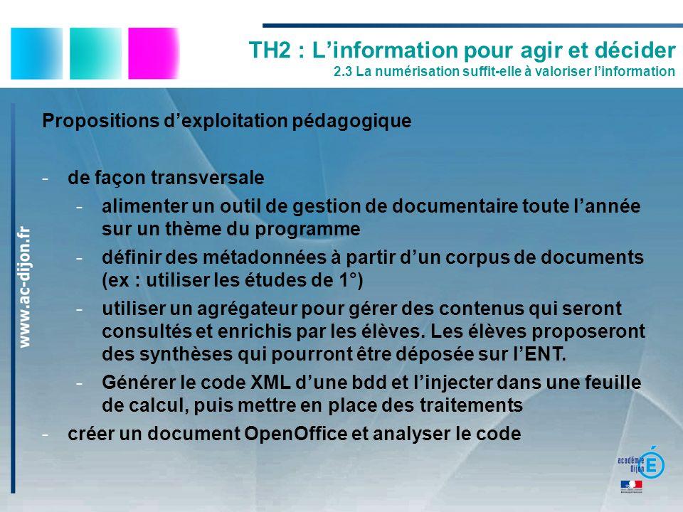 Propositions dexploitation pédagogique -de façon transversale -alimenter un outil de gestion de documentaire toute lannée sur un thème du programme -d