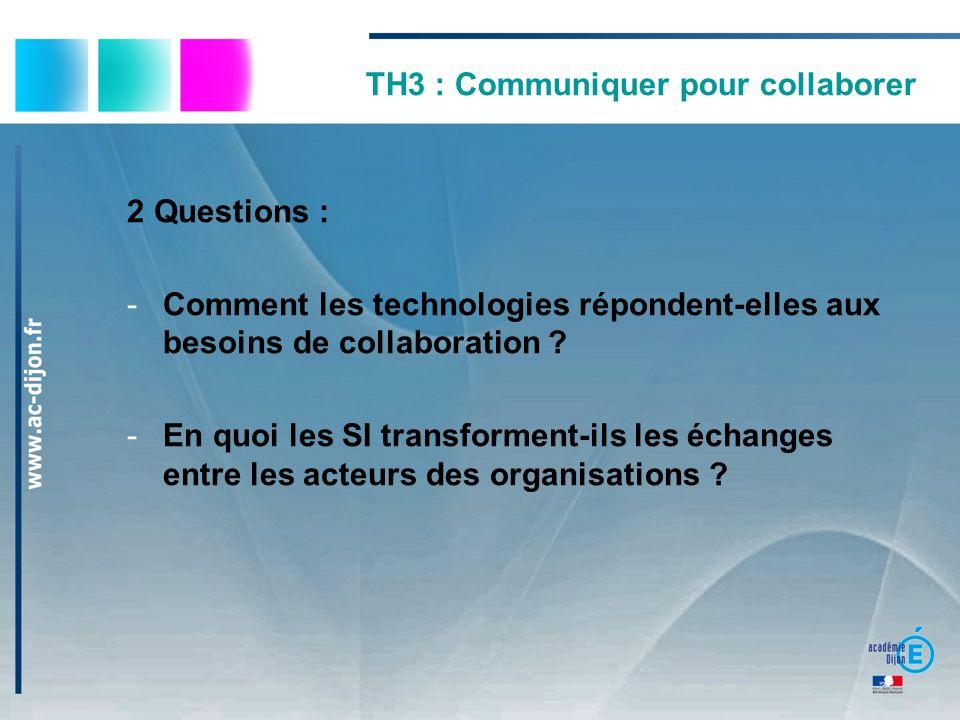 TH3 : Communiquer pour collaborer 2 Questions : -Comment les technologies répondent-elles aux besoins de collaboration ? -En quoi les SI transforment-