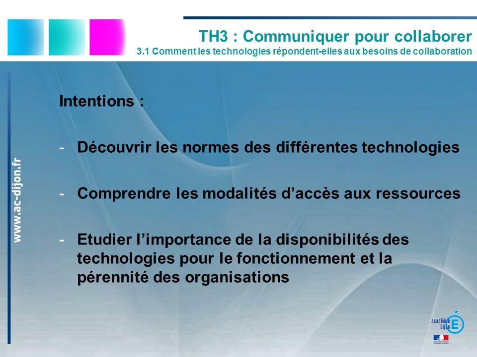 TH3 : Communiquer pour collaborer 3.1 Comment les technologies répondent-elles aux besoins de collaboration Intentions : -Découvrir les normes des dif
