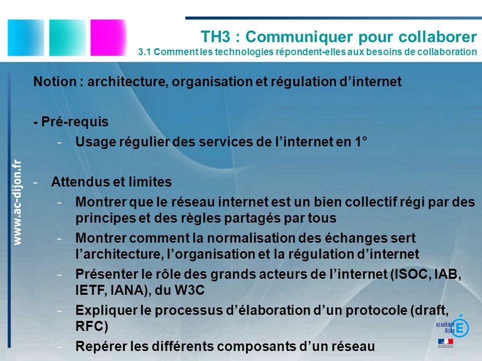Notion : architecture, organisation et régulation dinternet - Pré-requis -Usage régulier des services de linternet en 1° -Attendus et limites -Montrer